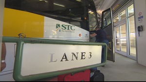 Un autocar de la Compagnie de transport de la Saskatchewan.