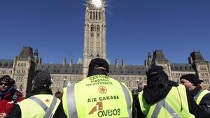 Les syndiqués d'Aveos sur la colline du Parlement à Ottawa en 2012