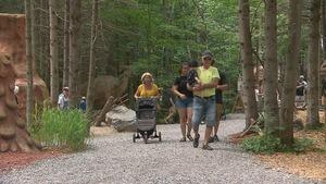 Une famille de cinq personnes marche dans une allée boisée.