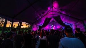 Une foule dans un chapiteau assiste à un spectacle de musique.