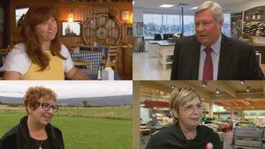 Des photos portraits de Caroline Desbiens (BQ), Raymond Bernier (indépendant), Sylvie Boucher (PCC) et Manon Fortin (PLC)