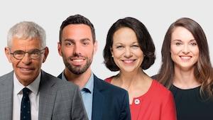 Les quatre candidats dans Jean-Talon des partis principaux.