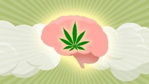 Une feuille de cannabis superposée sur un cerveau entouré de fumée.
