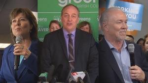 Christy Clark, du Parti libéral,  Andrew Weaver, du Parti vert, et John Horgan, du NPD, sont les chefs des trois principaux partis de la Colombie-Britannique lors de la campagne électorale de 2017.