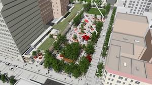 L'aménagement de l'esplanade Clark complète une série de réalisations des dernières années pour le pôle Place des Arts, telles que la place des Festivals, la promenade des Artistes et le Parterre, entamées en 2008.