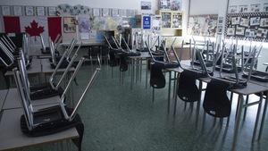 Un classe vide et déserte.