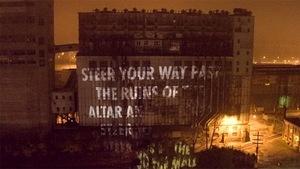 Maquette de la projection de textes de Leonard Cohen sur le silo numéro 5 à Montréal.