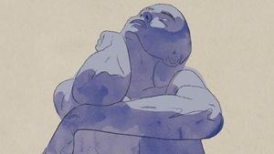 Le dessin à l'aquarelle, mauve sur fond beige, d'une personne nue, assise, les yeux fermés, la tête levée.