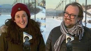 Un collage de deux photos, un homme et une femme, souriants, en entrevue à l'extérieur, l'hiver