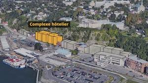 Maquette 3D du complexe hôtelier et autres bâtiments hypothétiques.