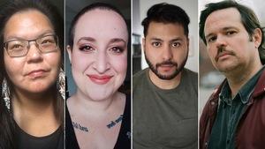 De gauche à droite  se trouvent les quatre portraits de Maya Cousineau Mollen, Mo Bolduc,  Nicholas Dawson et Sébastien Dulude.