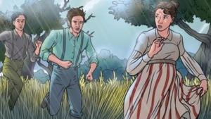 La couverture du roman graphique Susanna Moodie « Roughing It in The Bush », publié en 2016, écrit par Carol Shields et Patrick Crowe et illustré par Selena Goulding.