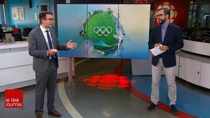 Pierre-Alexandre Bolduc et Jean-François Blanchet sur le plateau du Téléjournal Québec.