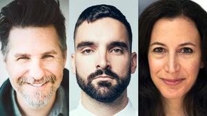 Montage photo des portraits en couleur des trois membres du jury. De gauche à droite : Dave Jenniss, Jean-Philippe Baril-Guérard et Rima Elkouri