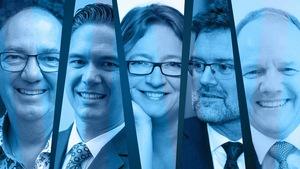 Les candidats à la mairie de Gatineau. De gauche à droite : Denis Tassé, Clément Bélanger, Sylvie Goneau, Maxime Pedneaud-Jobin et Rémi Bergeron.