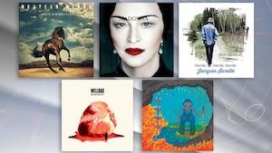 Les pochettes des cinq albums proposés par Jean-François Côté