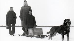 Photo d'époque qui montre trois jeunes près d'un traîneau attelé d'un chien.