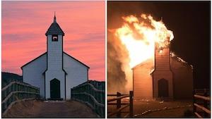L'église protestante patrimoniale de 1875 McDougall Stoney Mission a la proie des flammes lundi.
