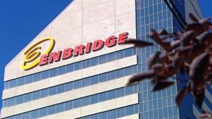 Un immeuble avec le logo d'Enbridge