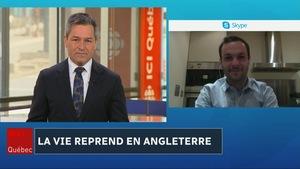 Bruno Savard en visioconférence avec le journaliste Mathieu Boisseau.