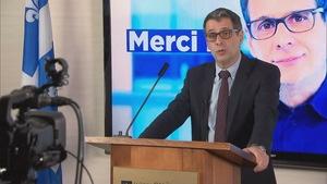 Le chef du Parti conservateur du Québec, Éric Duhaime, prononce un discours