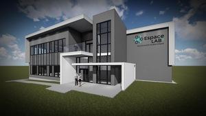 Le futur espace multilocatif Espace Labz, sur la rue Maximilien-Chagnon, à Sherbrooke. Il comptera deux étages et sera d'architecture moderne.