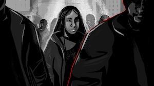 Illustration d'une femme qui suit un homme dans une foule