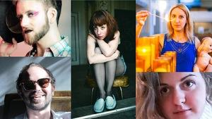 Montage photo des portraits des 5 finalistes : Sébastien Émond, Maud Evelyne, Mélodie Nelson, Olyvier Leroux-Picard, Mélodie Charest