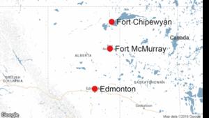 Une carte Google du nord de l'Alberta avec Fort McMurray, Fort Chipewyan et Edmonton