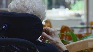 Une femme âgée de dos, assise dans un fauteuil roulant.