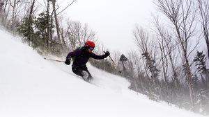 Une skieuse dévale la montagne dans une forêt gaspésienne.
