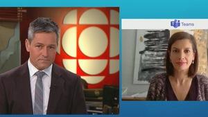 L'animateur du Téléjournal Québec Bruno Savard en entrevue avec Geneviève Guilbault, ministre de la Sécurité publique.