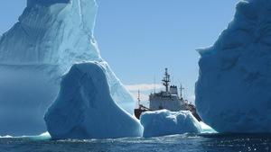 Un navire de la garde côtière vu au travers de plusieurs glaciers dans l'eau.