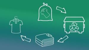 Graphique démontrant le cycle de vie des vêtements déposés dans une boîte de dépôt Récupex.