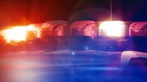 Gyrophare d'une voiture de police dans la nuit.