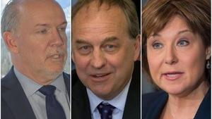 Les chefs des trois principaux partis aux élections provinciales de 2017 en Colombie-Britannique: John Horgan, Andrew Weaver et Christy Clark.