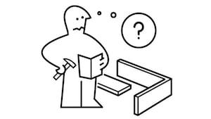 Une image montrant le personnage IKEA tenant un manuel d'instructions et un marteau. Une bulle de réflexion montre qu'il est confus.