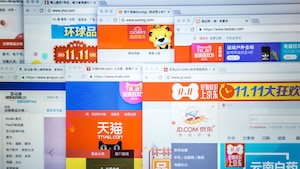 Une capture d'écran montrant plusieurs fenêtres ouvertes sur des sites Internet chinois.