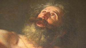 Sur le tableau, Saint Jérôme, portant la barbe, regarde vers le ciel.
