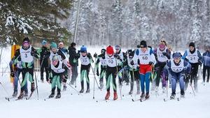 Un groupe de jeunes en ski de fond