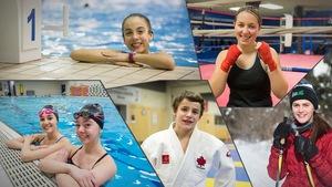 Camille Jean, Marianne Boisvert (nage synchronisée), Léa Gauthier (plongeon), Simon Paquet (judo), Émy Dallaire (boxe) et Anaïs Côté (ski de fond).