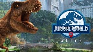 Le logo du jeu avec un tyrannosaure
