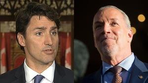 Portrait de Justin Trudeau à gauche et portrait de John Horgan à droite