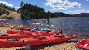 Des kayaks et des pédalo sur la plage