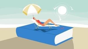 Une femme sur une chaise longue, qui est posée sur un livre