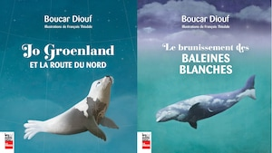 La couverture des livres de Boucar Diouf :« Jo Groenland et la route du nord» et «Le Brunissement des baleines blanches ».