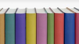 Des livres de différentes couleurs rangés debout