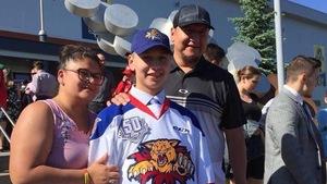 Jakob Flamand lors du repêchage de la Ligue de hockey junior majeur du Québec.