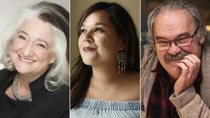 Montage photo des portraits des auteurs Marie Laberge, Naomi Fontaine et Jean Marc Dalpé
