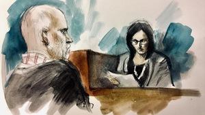 Un sketch de cour montrant une femme lisant un témoignage devant un homme